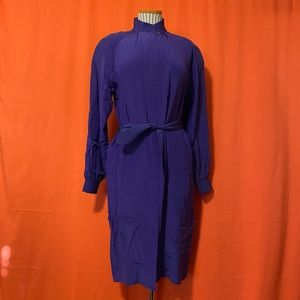 1960s Frank Masandrea Belted Formal Silk Dress